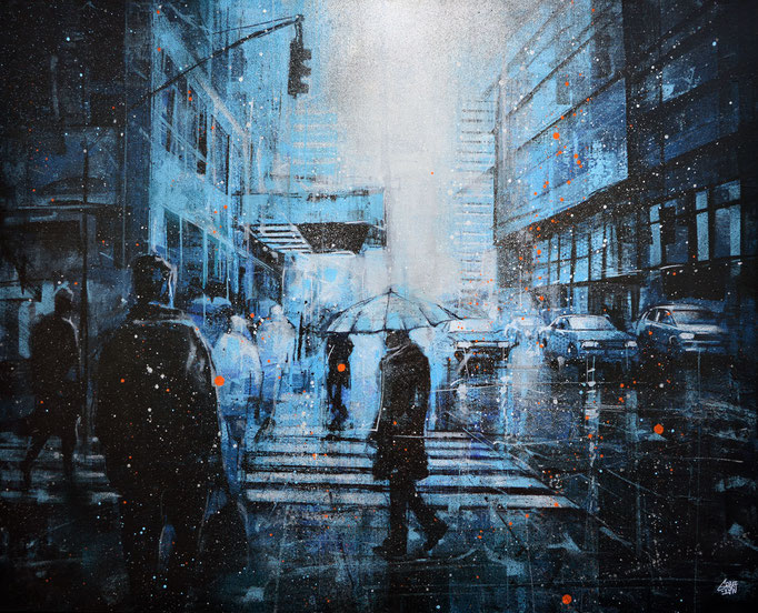 "<b>BLUES TRAFFIC</b><br>81 x 100 cm<br><a style=""color:#db6464;"">Vendu</br></a> <alt=""art peinture scene urbaine newyork rue street newyork city winter blue umbrella painting snow snowing raining"">"