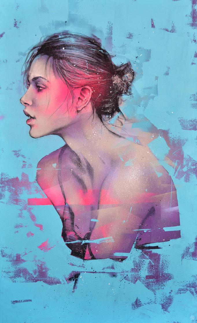 """<b>TAKEN FROM LIFE</b><br>146 x 89 cm<br><a style=""""color:#db6464;"""">Vendu</br></a><alt=""""art tableau streetart urbain portrait femme peinture toile format géant grand>"""