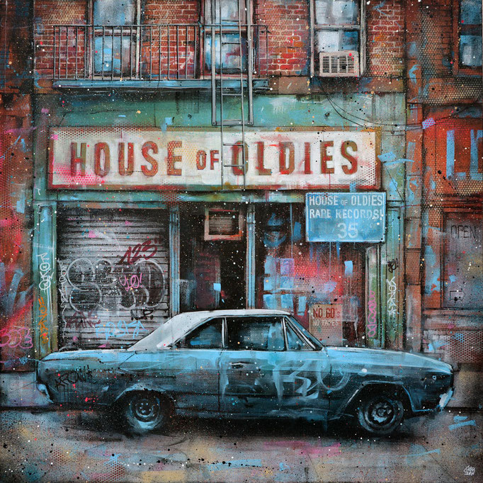 "<b>HOUSE OF OLDIES</b><br>100 x 100 cm<br><a style=""color:#db6464;"">Vendu</a><alt=""storefront illustration art urbain facade vintage rue newyork city wall shopfront shop front scene urbaine street immeuble deco tableau œuvre originale ville usa "">"