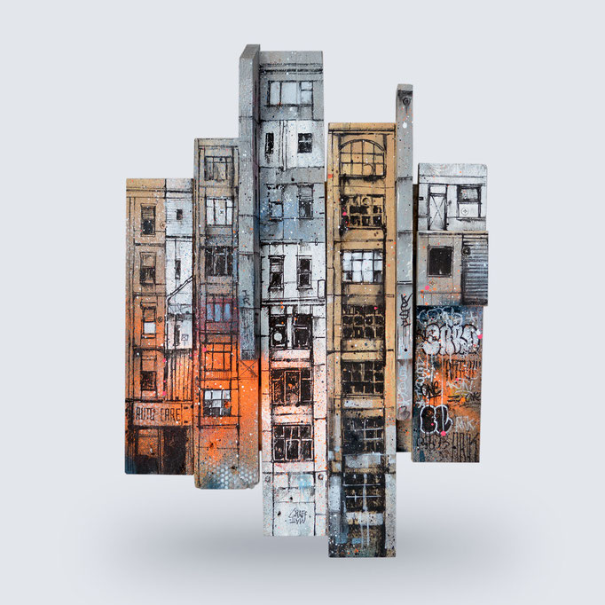 "<b>FRAGMENT URBAIN</b><br>58 x 40 cm<br>650,00 € <alt=""graffuturism graffuturist art tableau streetart graffiti france spray paint spraycan streetart artwork tableau urbain palette bois urbaine aérosol ville illustration œuvre>"
