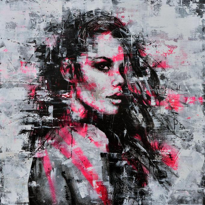 """<b>HIDDEN GARDEN</b><br>100 x 100 cm<br><a style=""""color:#db6464;"""">Vendu</br></a></a> <alt=""""art contemporain peinture portrait streetart femme élégance beauté beauty fashion rose pink fluo fluorescent"""">"""