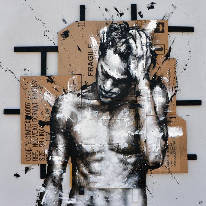 """<b>NEED TO KNOW</b><br>100 x 100 cm<br><a style=""""color:#db6464;"""">Vendu</a><alt=""""art artiste peintre contemporain portrait homme graffiti france streetart savoie chambery lyon france graffmatt"""">"""