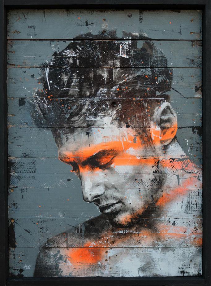 """<b>FINDING INNER STRENGTH</b><br>92 x 68 cm<br><a style=""""color:#db6464;"""">Vendu</br></a><alt=""""art urbain tableau peinture sur bois portrait homme force streetart savoie"""">"""