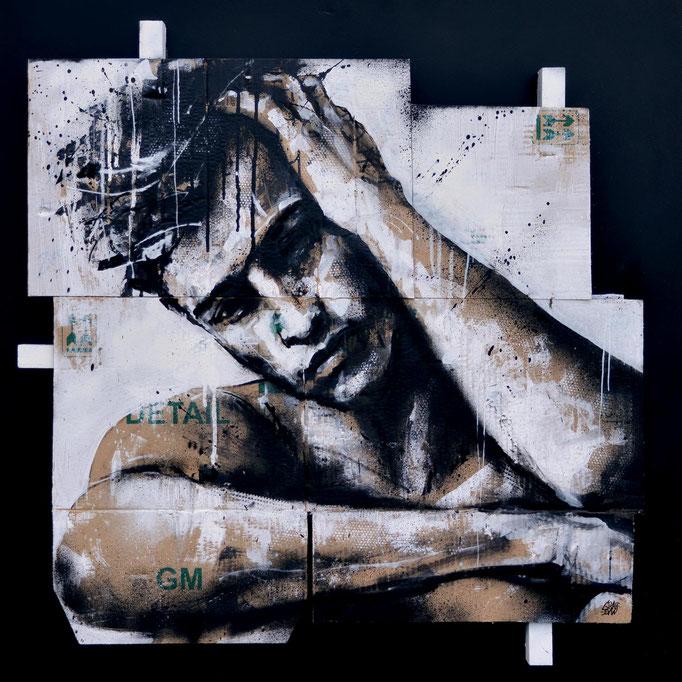 """<b>GOING THROUGH CHANGES</b><br>80 x 80 cm<br><a style=""""color:#db6464;"""">Vendu</a> <alt=""""art artiste peintre contemporain portrait homme graffiti france support bois carton streetart"""">"""