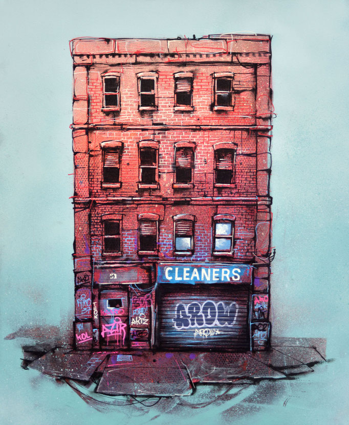 """<b>CLEANERS</b><br>61 x 50 cm<br><a style=""""color:#db6464;"""">Vendu</br></a> <alt=""""art artiste streetart french newyork building storefront shopfront illustration painting peinture tableau contemporain urbain couleur briques"""">"""