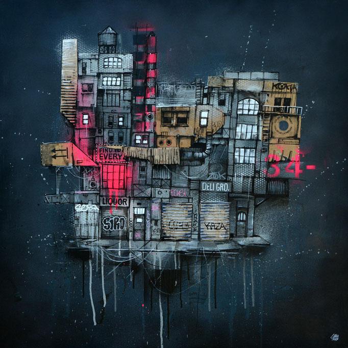 """<b>THIS CITY NEVER SLEEP</b><br>80 x 80 cm<br><a style=""""color:#db6464;"""">Vendu</a>"""