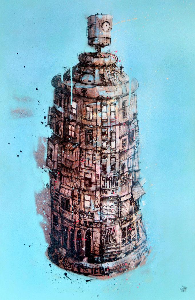 "<b>LA BOMBE URBAINE</b><br>100 x 65 cm<br><a style=""color:#db6464;"">Vendu <alt=""art tableau streetart graffiti france spray paint spraycan streetart artwork tableau urbain bombe peinture urbaine aérosol ville illustration œuvre>"