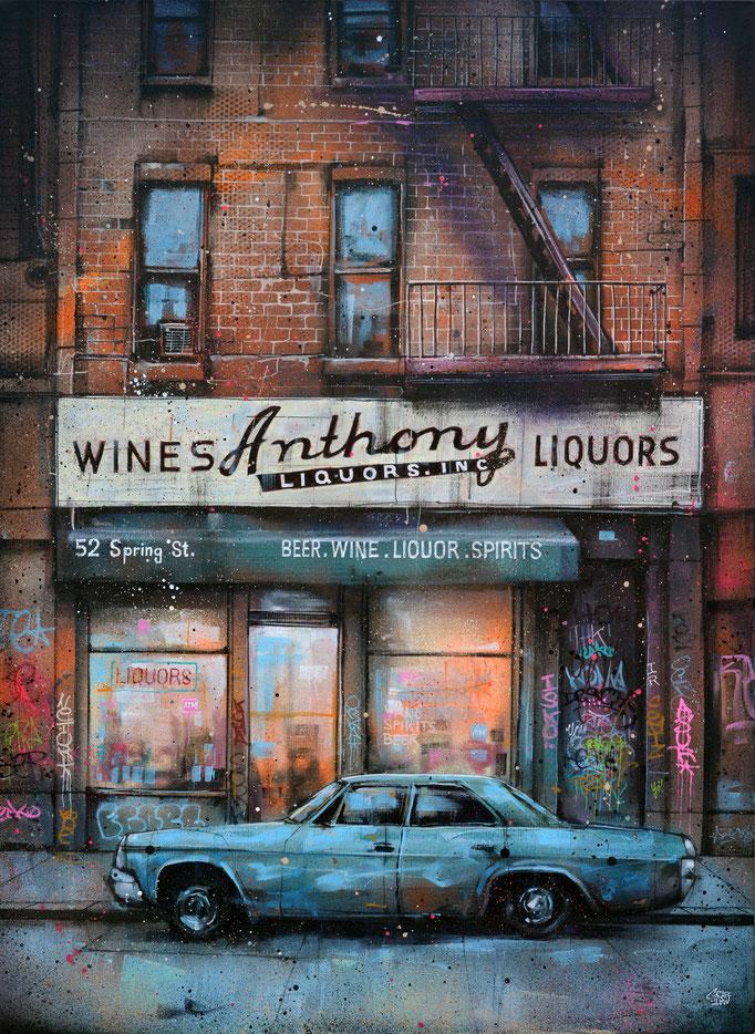 "<b>ANTHONY LIQUORS</b><br>100 x 73 cm<br><a style=""color:#db6464;"">Vendu</br><alt=""art peinture toile tableau rue urbain new-york city facade brick wall vintage urban art old car frontstore frontshop front store front shop color new york>"