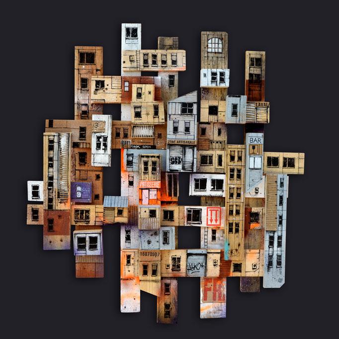 """<b>MICMAC URBAIN</b><br>100 x 100 cm<br><a style=""""color:#db6464;"""">Actuellement en exposition </a> <alt=""""art peinture palette bois ville streetart assemblage urbain contemporain graffmatt caisse bois déco relief 3d sculpture totem tour immeuble"""">"""