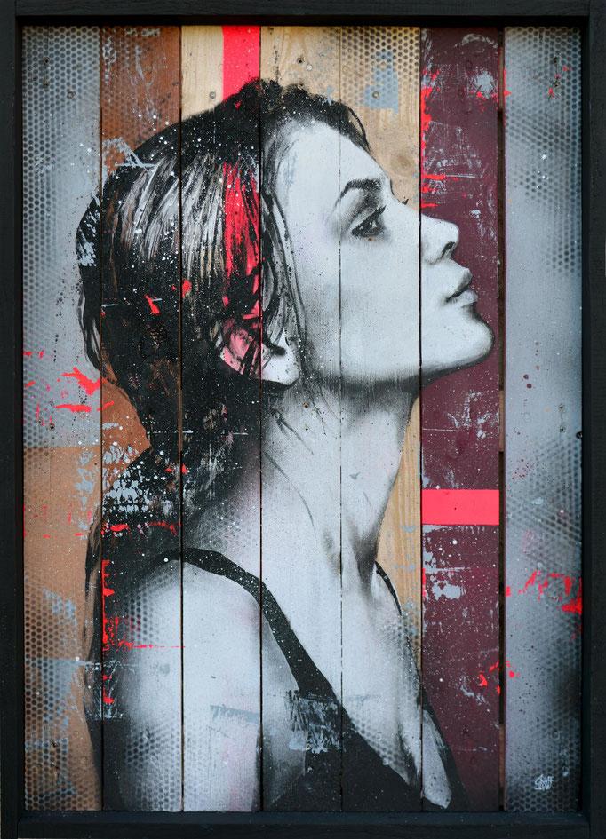 """<b>I WILL FOLLOW</b><br>97 x 70 cm<br><a href=""""https://www.graffmatt.com/contact/mail-tableau"""" ; style=""""color:#49bfc0;"""" target=""""_blank"""">Disponible</br><alt=""""art tableau contemporain streetart portrait femme couleur bois palette modern urbain"""">"""