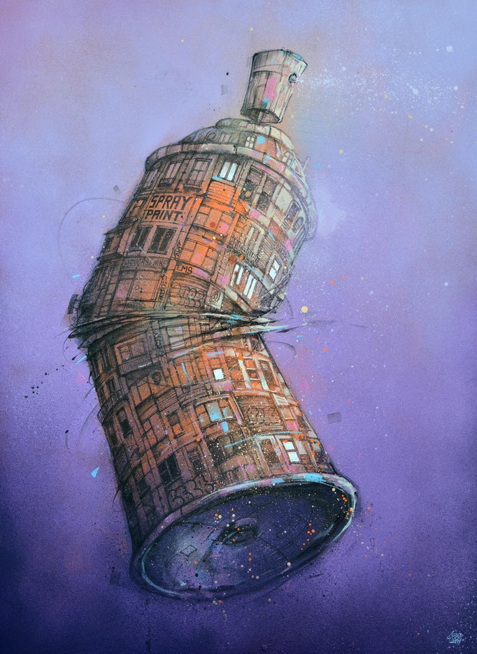 "<b>SNEEZE</b><br>100 x 73 cm<br><a style=""color:#db6464;"">Vendu</br></a><alt=""art peinture streetart bombe aérosol peinture graffiti ville spray can urbaine contemporain>"