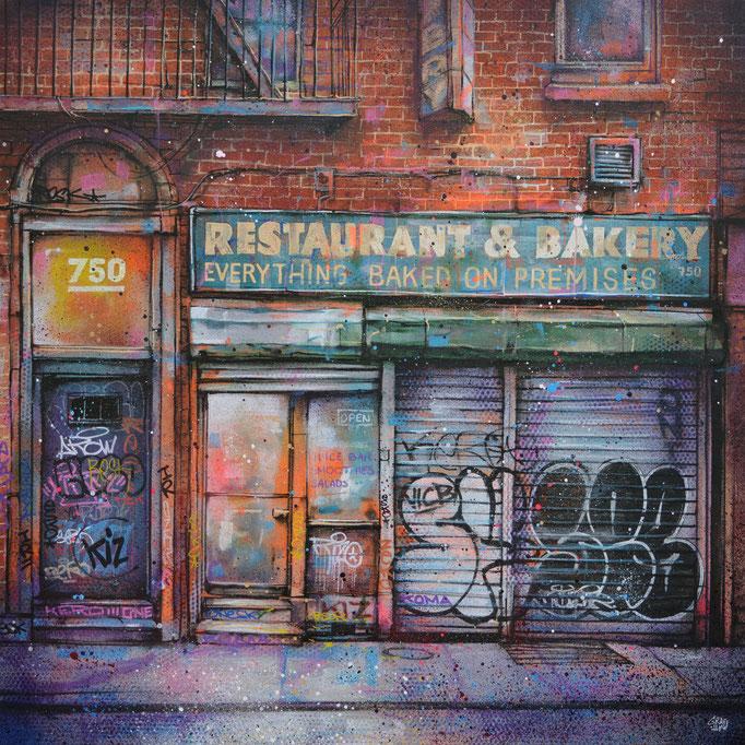 """<b>RESTAURANT & BAKERY</b><br>80 x 80 cm<br><a style=""""color:#db6464;"""">Vendu</br></a><alt=""""graffmatt art contemporain moderne streetart femme graffiti galerie d'art chambéry"""">"""