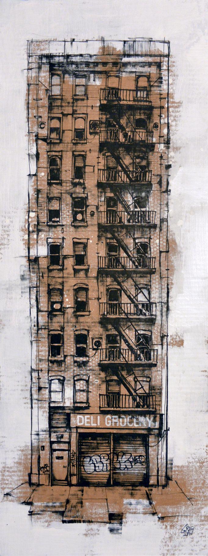 "<b>DELI GROCERY</b><br>80 x 30 cm<br><a style=""color:#db6464;"">Vendu</br></a> <alt=""art peinture ville newyork facade urbaine immeuble new-york city dessin rue urban art urban scene"">"