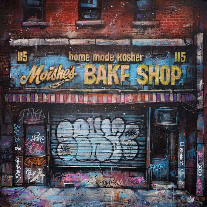 "<b>MOISHES BAKE SHOP</b><br>80 x 80 cm<br><a style=""color:#db6464;"">Vendu</br></a> <alt=""art artiste peintre contemporain facade newyork vintage ancien retro street rue urbain france streetart savoie chambery graffmatt"">"