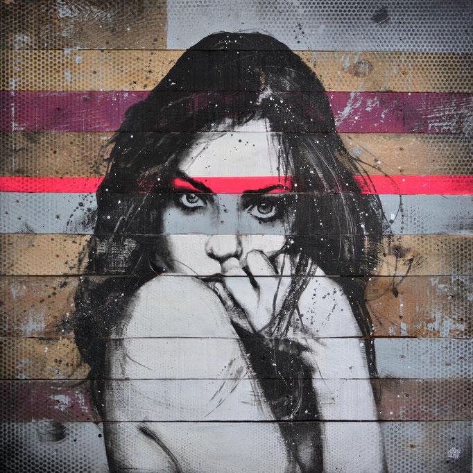 """<b>FULL OF SECRET DREAMS</b><br>80 x 80 cm<br><a style=""""color:#db6464;"""">Vendu</br></a><alt=""""art tableau streetart portrait femme peinture sur bois palette graffmatt"""">"""