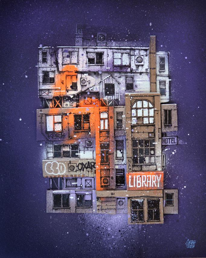 """<b>LIBRARY</b><br>50 x 40 cm<br><a style=""""color:#db6464;"""">Vendu</a><alt=""""art peinture streetart architecture urbaine immeuble building graffiti paris"""">"""