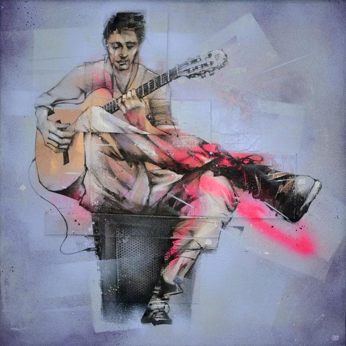 """<b>STREET GUITARIST</b><br>100 x 100 cm<br><a href=""""/app/module/webproduct/goto/m/m5879220510285e96"""" ; style=""""color:#49bfc0;"""" target=""""_blank"""">Disponible à la vente</b><alt=""""art tableau contemporain urbain musique guitare guitariste de rue streetart"""">"""