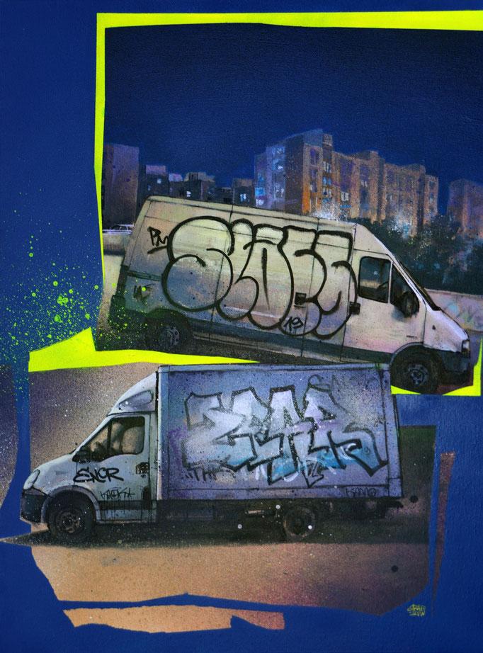 "<b>BLEU NUIT</b><br>73 x 54 cm<br><a href=""https://www.graffmatt.com/contact/mail-tableau"" ; style=""color:#49bfc0;"" target=""_blank"">Disponible</a><alt=""art tableau rue camion tagué nuit street night truck graffiti streetart blue art contemporain urbain"">"