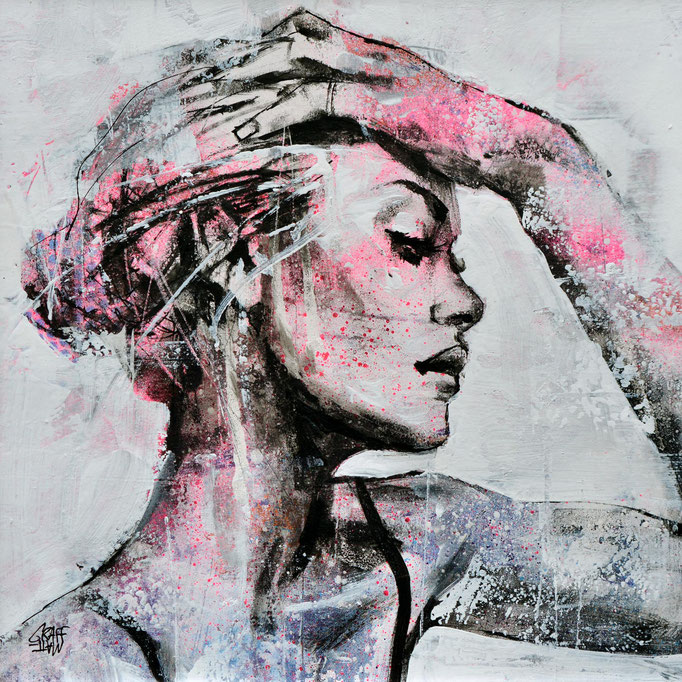 """<b>LET ME BE</b><br>25 x 25 cm<br><a style=""""color:#db6464;"""">Vendu</a> <alt=""""œuvre art portrait femme streetart dessin contemporain fashion vogue model sensuel moderne deco fille original"""">"""