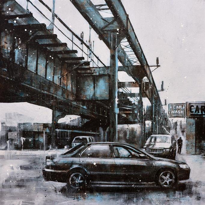"""<b>MYRTLE AVENUE</b><br>80 x 80 cm<br><a style=""""color:#db6464;"""">Vendu</a><alt=""""peinture œuvre tableau art contemporain ville newyork city brooklyn hiver winter painting metro subway usa contemporary art modern cityscape"""">"""