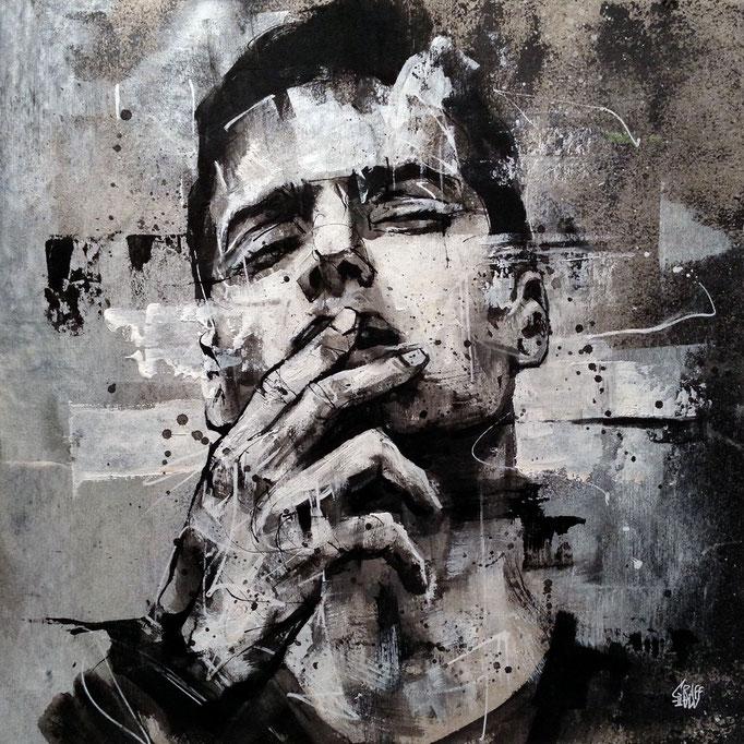 "<b>A GREY MELANCHOLY</b><br>36 x 36 cm<br><a style=""color:#db6464;"" target=""_blank"">Vendu</br></a> <alt=""art artiste peintre contemporain portrait homme fume cigarette model graffiti france streetart savoie chambery graffmatt"">"