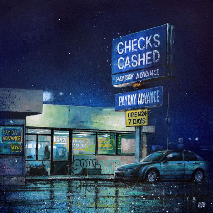 "<b>CHECKS CASHED</b><br>50 x 50 cm<br><a href=""/app/module/webproduct/goto/m/m4369e5eb8e038a9e"" ; style=""color:#49bfc0;"" target=""_blank"">Disponible</a><alt=""graffmatt art tableau rue nuit street night graffiti streetart blue art contemporain urbain"">"