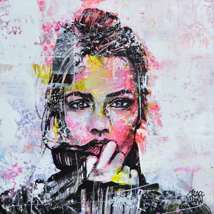 """<b>HOLD ME CLOSE</b><br>20 x 20 cm<br><a style=""""color:#db6464;"""">Vendu</br></a> <alt=""""art peinture tableau portrait femme couleur streetart fashion art moderne vibes"""">"""