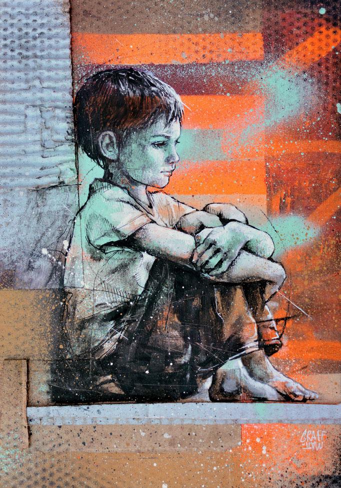 """<b>SILENCE</b><br>30 x 21 cm<br><a style=""""color:#db6464;"""">Vendu</a><alt=""""dessin art confinement enfants solitude ennui attente école crise sanitaire streetart art contemporain virus coronavirus covid_19 art coronaart pandémie"""">"""