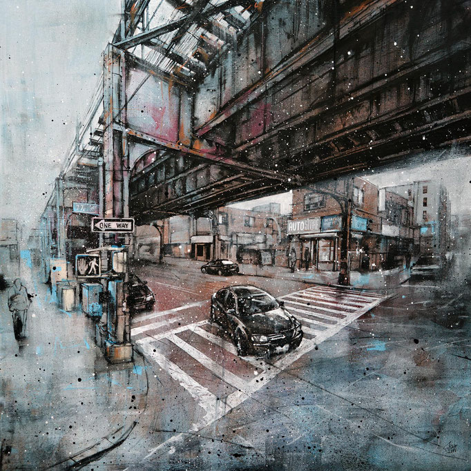 "<b>77th STREET</b><br>80 x 80 cm<br><a style=""color:#db6464;"">Vendu</br></a> <alt=""art peinture newyork ville facade urbaine pont metro brooklyn airtrain subway"">"