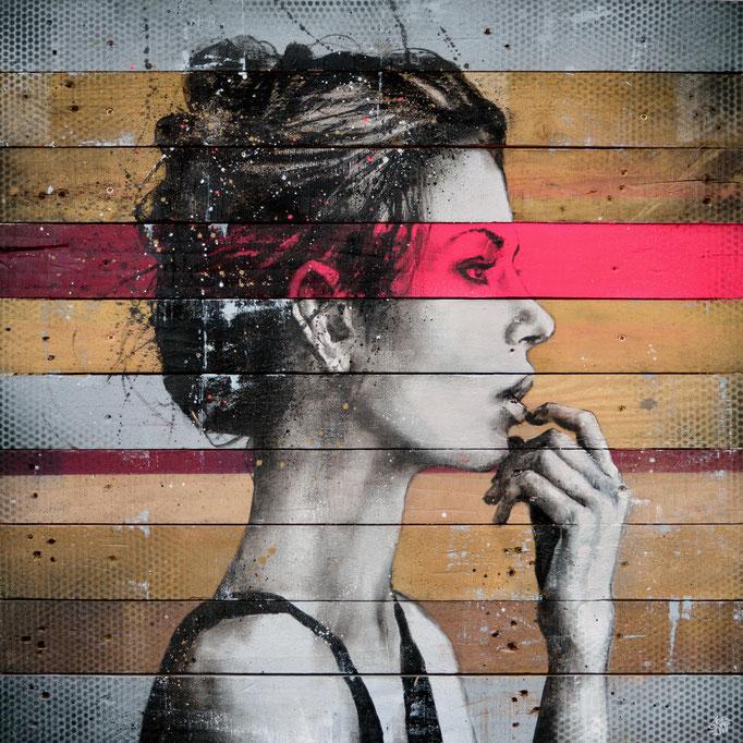 """<b>THE MUSE</b><br>80 x 80 cm<br><a style=""""color:#db6464;"""">Vendu</br></a><alt=""""art peinture sur bois palette bois tableau d'art contemporain urbain streetart graffiti portrait femme couleur originale graffmatt chambéry savoie lyon paris france >"""
