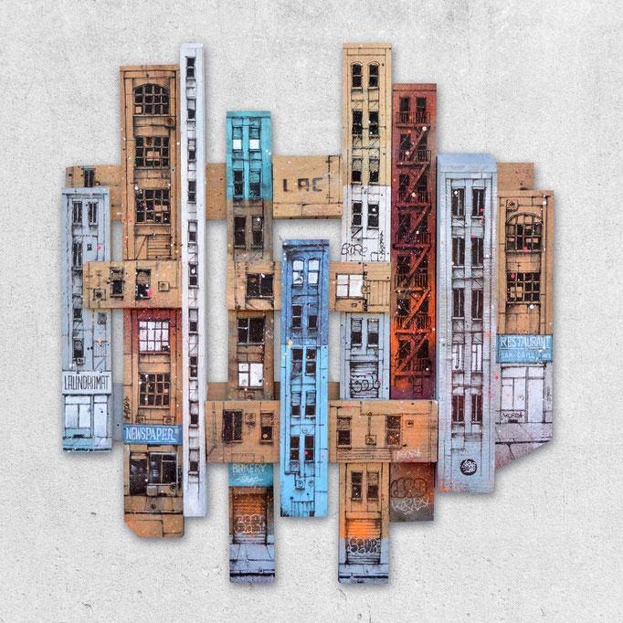 """<b>MADISON AVENUE</b><br>80 x 73 cm<br><a style=""""color:#db6464;"""">Vendu</br></a>alt=""""art peinture streetart urbain ville sculpture urbaine contemporain bois palette wood wooden pallet architectural painting piece city building"""">"""