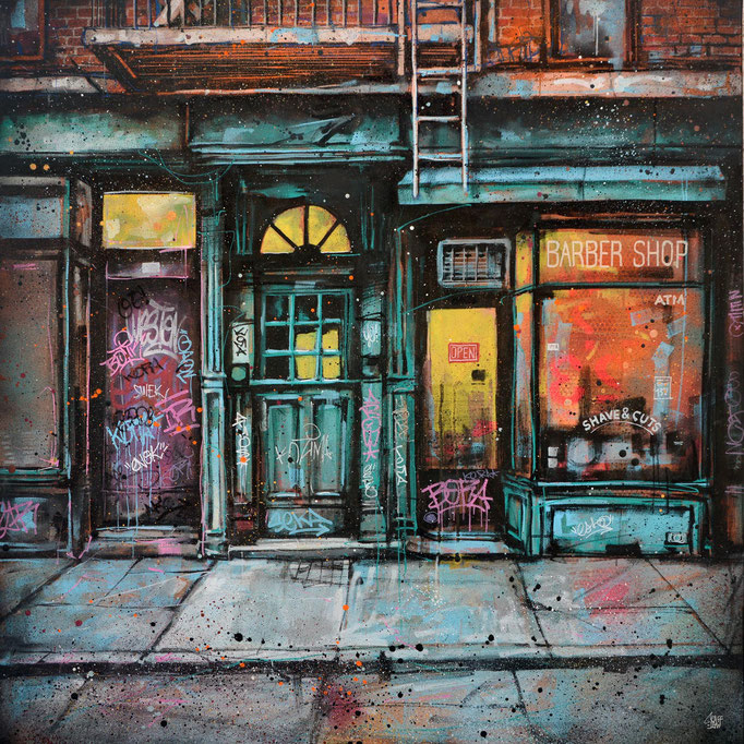 "<b>BARBER SHOP</b><br>80 x 80 cm<br><a style=""color:#db6464;"">Vendu</br><alt=""storefront illustration art urbain facade rue newyork city wall shopfront shop front scene urbaine street immeuble deco tableau œuvre originale ville usa streetart "">"