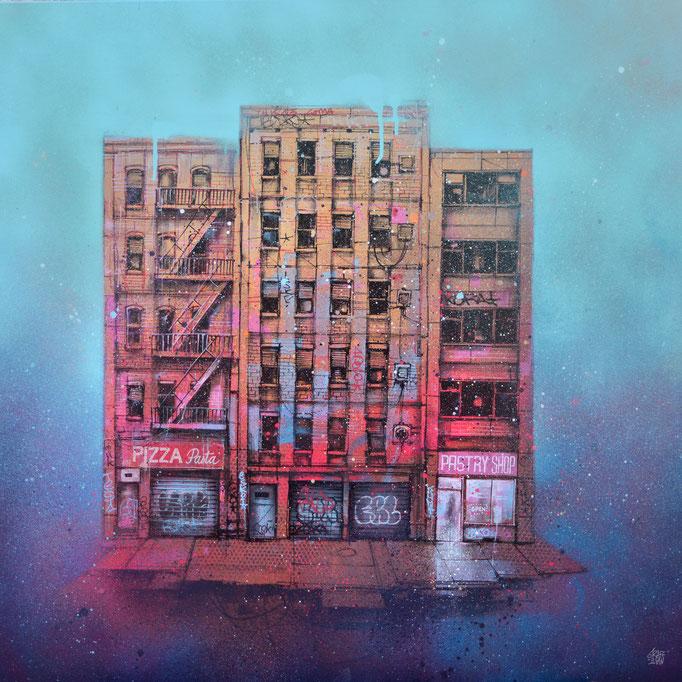 "<b>EARLY SUNDAY</b><br>80 x 80 cm<br><a style=""color:#db6464;"">Vendu</br><alt=""art peinture toile tableau rue urbain new-york city facade brick wall vintage urban art facade storefront front store building new york painting street>"