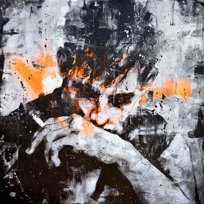 "<b>A BREAK</b><br>80 x 80 cm<br><a style=""color:#db6464;"">Vendu</br></a> <alt=""art artiste peintre contemporain portrait homme fume cigarette model graffiti france streetart savoie chambery graffmatt"">"