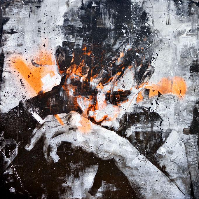 "<b>A BREAK</b><br>80 x 80 cm<br><a style=""color:#db6464;"">Vendu</br></a> <alt=""art artiste peintre contemporain portrait homme fume cigarette model graffiti france streetart savoie chambery graffmatt"">"