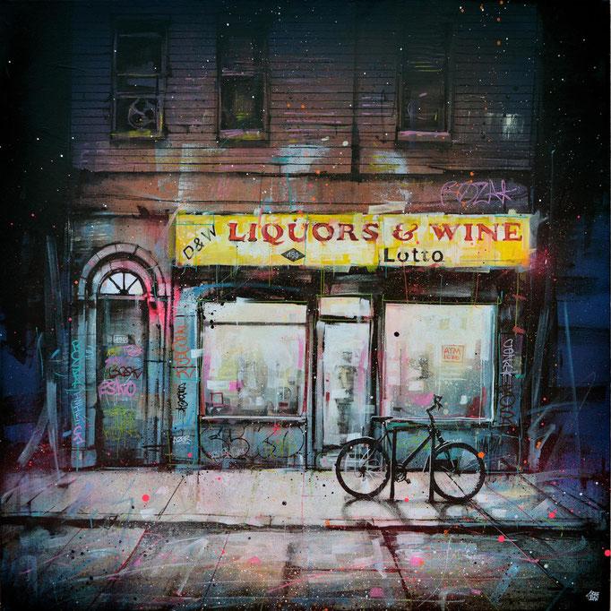 "<b>LIQUORS AND WINE</b><br>100 x 100 cm<br><a style=""color:#db6464;"">Vendu</br></a> <alt=""art artiste streetart french newyork building storefront shopfront store front painting peinture urbain street scene new-york city cityscape night shop "">"