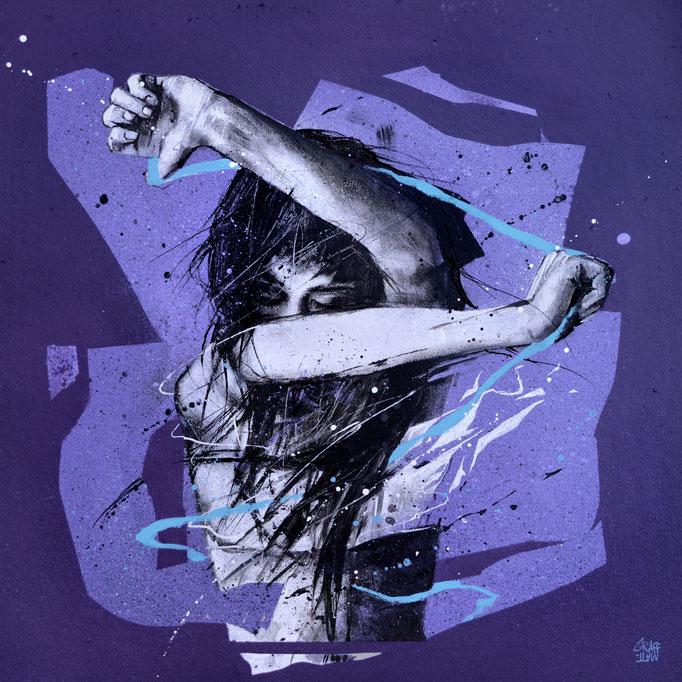 """<b>DELIVERANCE</b><br>40 x 40 cm<br><a style=""""color:#db6464;"""">Vendu</a><alt=""""art peinture streetart portrait femme battue lutte contre les violences conjugales aux femmes dessin illustration force"""">"""