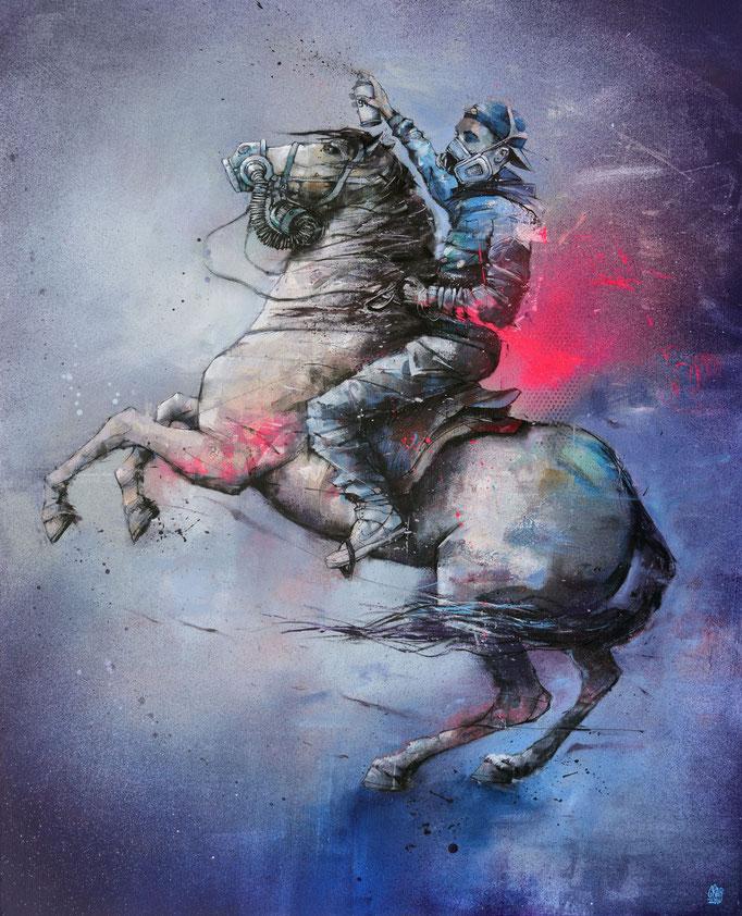 """<b>AUX ARMES</b><br>100 x 81 cm<br><a style=""""color:#db6464;"""">Vendu</a><alt=""""peinture streetart art contemporain covid 19 corona virus coronavirus covid_19 combat peinture artiste graffiti art coronaart cheval nous sommes en guerre pandemie"""">"""