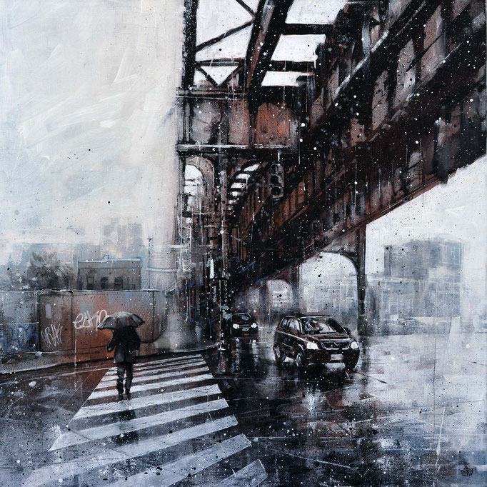 "<b>ALONG THE AIR TRAIN</b><br>70 x 70 cm<br><a style=""color:#db6464;"">Vendu</a> <alt=""tableau art contemporain ville newyork peinture painting brooklyn bridge subway metro pont graffiti urbain france streetart savoie chambery graffmatt"">"