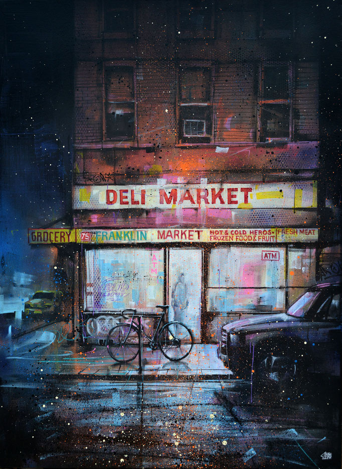 "<b>NIGHT DELI MARKET</b><br>100 x 73 cm<br>1 650,00 € <alt=""art tableau streetart graffiti spraypaint modern street rue urbain newyork facade nocture nuit night scene city cityscape>"