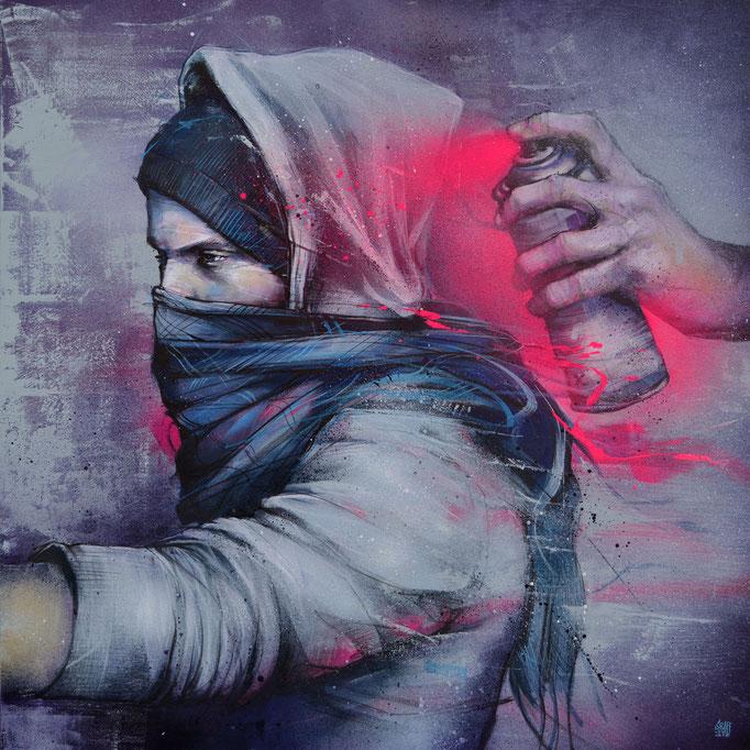 """<b>BLOWBACK</b><br>90x 90 cm<br><a href=""""https://www.graffmatt.com/peinture/2020/blowback/"""" ; style=""""color:#49bfc0;"""" target=""""_blank"""">Disponible à la vente</b><alt=""""art peinture streetart portrait graffiti artiste peintre lyon paris chambéry savoie"""">"""