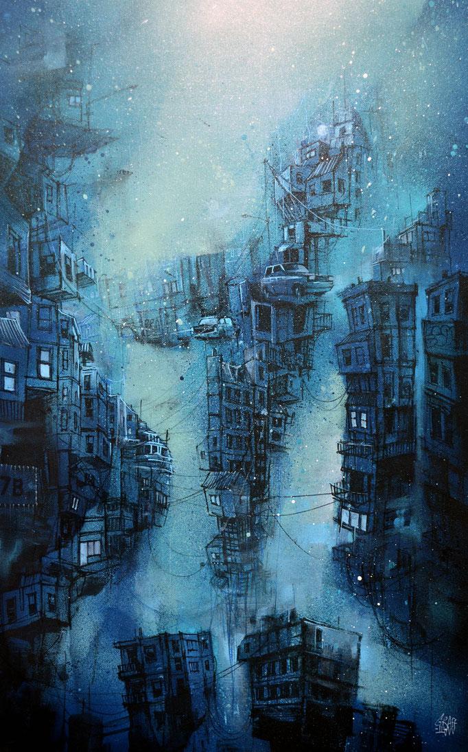 """<b>UNDERWATER CITY</b><br>68 x 31 cm<br><a style=""""color:#db6464;"""">Vendu</a><alt=""""art peinture urbaine contemporain ville sous l'eau cité fantastique ocean mer fond>"""