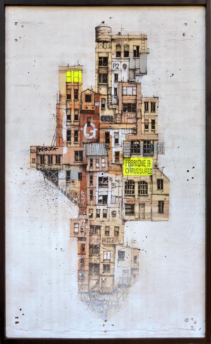 """<b>LA FABRIQUE</b><br>117 x 82 cm<br><a style=""""color:#db6464;"""">Vendu</a><alt=""""art peinture streetart urbain ville sculpture architecture urbaine contemporain bois palette building immeubles tableau d'art urbain original>"""
