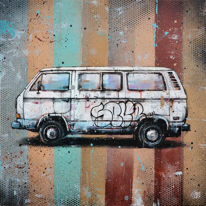 """<b>TRAVELING VAN</b><br>50 x 50 cm<br><a style=""""color:#db6464;"""">Vendu</br><alt=""""art tableau streetart van volkswagen peinture toile painting art"""">"""