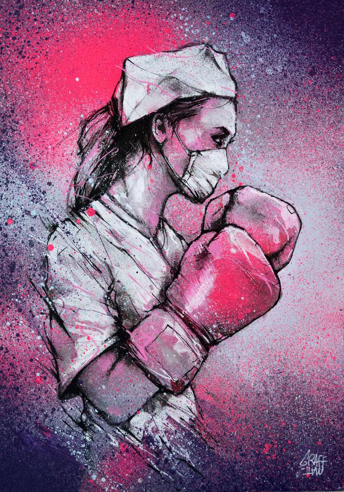 """<b>DERNIER ROUND</b><br>42 x 30 cm<br><a href=""""/app/module/webproduct/goto/m/m566e29bd74900cc7"""" ; style=""""color:#49bfc0;"""" target=""""_blank"""">Tirage d'art disponible à la vente</b><alt=""""art dessin infirmière soignante gants boxe combat coronavirus covid 19"""">"""