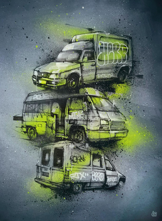 "<b>MULTI-UTILITY</b><br>100 x 65 cm<br><a href=""https://www.graffmatt.com/contact/mail-tableau"" ; style=""color:#49bfc0;"" target=""_blank"">Disponible</b><alt=""art tableau peinture voiture utilitaire camion streetart graffiti urbain moderne"">"