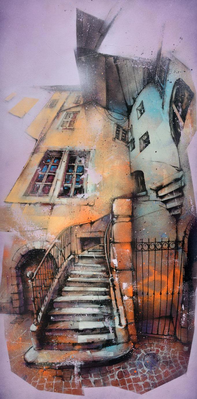"<b>ALLÉE CHIRON</b><br>160 x 80 cm<br><a href=""https://www.graffmatt.com/contact/mail-tableau"" ; style=""color:#49bfc0;"" target=""_blank"">Disponible</b><alt=""art tableau streetart toile peinture chambéry allée chiron ruelle chambery chateau"">"
