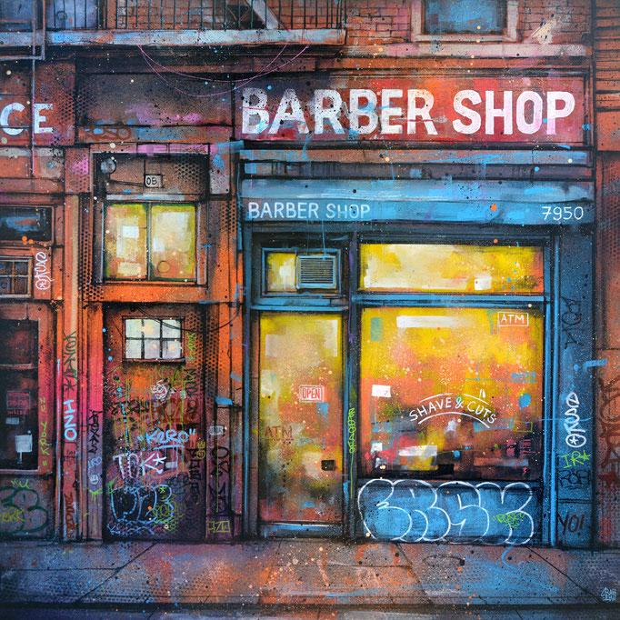 """<b>BARBER SHOP</b><br>80 x 80 cm<br><a style=""""color:#db6464;"""">Vendu</br><alt=""""art peinture streetart urbain urbaine contemporain storefront newyork city facade shop devanture magasin vintage>"""
