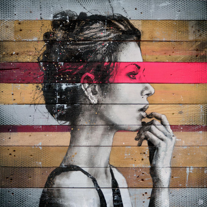 "<b>THE MUSE</b><br>80 x 80 cm<br><a style=""color:#db6464;"">Vendu</br><alt=""art peinture sur bois palette bois tableau d'art contemporain urbain streetart graffiti portrait femme couleur originale graffmatt chambéry savoie lyon paris france >"