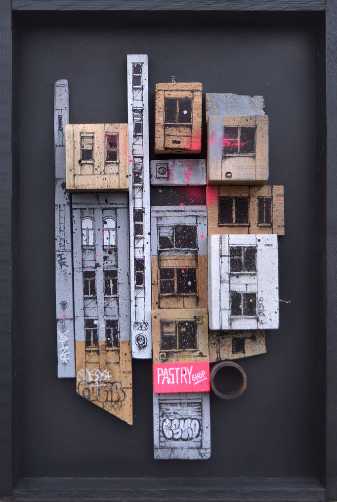 "<b>BLOC URBAIN</b><br>64 x 43 cm<br><a href=""https://www.graffmatt.com/contact/mail-tableau"" ; style=""color:#49bfc0;"" target=""_blank"">Disponible</a><alt=""art facade building newyork city sculpture graffiti painting volume art for sale french artist"">"